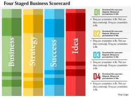 Four Staged Business Scorecard Flat Powerpoint Design