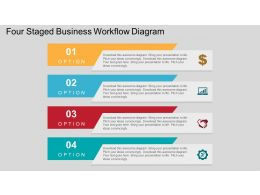 Four Staged Business Workflow Diagram Flat Powerpoint Design