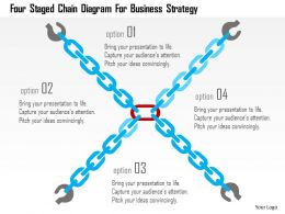 Four Staged Chain Diagram For Business Strategy Flat Powerpoint Design
