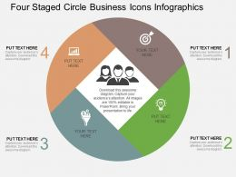 Four Staged Circle Business Icons Infographics Flat Powerpoint Design