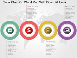 Four Staged Circle Charts On World Map With Finance Icons Ppt Presentation Slides
