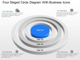 Four Staged Circle Diagram With Business Icons Powerpoint Template Slide