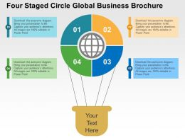 Four Staged Circle Global Business Brochure Flat Powerpoint Design