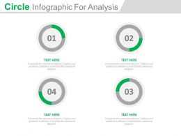 Four Staged Circle Infographics For Analysis Powerpoint Slides