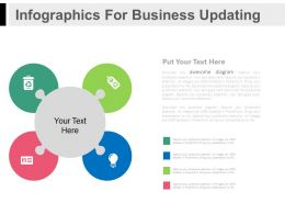 Four Staged Circle Infographics For Business Updating Flat Powerpoint Design