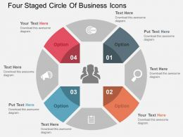 Four Staged Circle Of Business Icons Flat Powerpoint Design