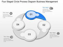 Four Staged Circle Process Diagram Business Management Powerpoint Template Slide