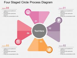 Four Staged Circle Process Diagram Flat Powerpoint Design