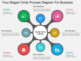 Four Staged Circle Process Diagram For Business Flat Powerpoint Design