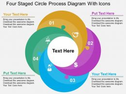 Four Staged Circle Process Diagram With Icons Flat Powerpoint Design