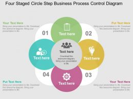 Four Staged Circle Step Business Process Control Diagram Flat Powerpoint Design