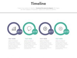 Four Staged Circle Timeline Infographics Powerpoint Slides