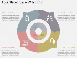 Four Staged Circle With Icons Flat Powerpoint Desgin