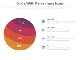 Four Staged Circle With Percentage Icons Powerpoint Slides