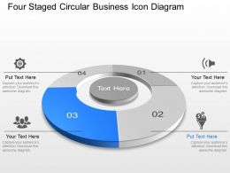 Four Staged Circular Business Icon Diagram Powerpoint Template Slide