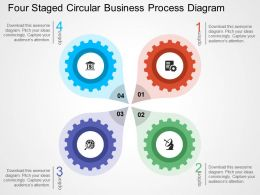 Four Staged Circular Business Process Diagram Flat Powerpoint Design