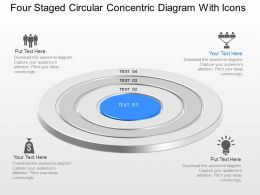 Four Staged Circular Concentric Diagram With Icons Powerpoint Template Slide
