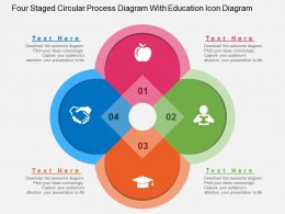 four_staged_circular_process_diagram_with_education_icon_diagram_flat_powerpoint_design_Slide01