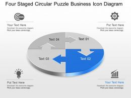 Four Staged Circular Puzzle Business Icon Diagram Powerpoint Template Slide
