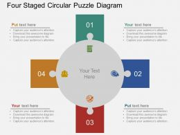 Four Staged Circular Puzzle Diagram Flat Powerpoint Design
