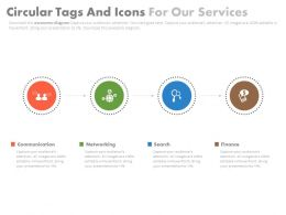 Four Staged Circular Tags And Icons For Our Services Powerpoint Slides