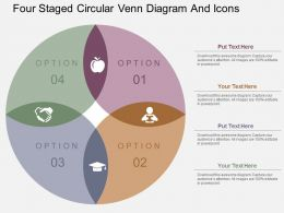 Four Staged Circular Venn Diagram And Icons Flat Powerpoint Design