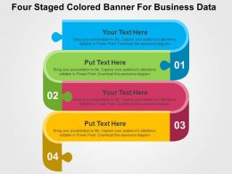 Four Staged Colored Banner For Business Data Flat Powerpoint Design