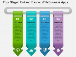 Four Staged Colored Banner With Business Apps Flat Powerpoint Design