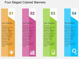 Four Staged Colored Banners Flat Powerpoint Design