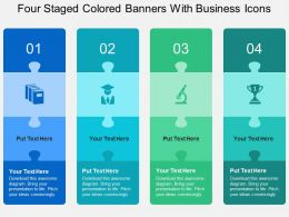Four Staged Colored Banners With Business Icons Flat Powerpoint Design