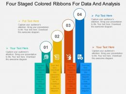 four_staged_colored_ribbons_for_data_and_analysis_flat_powerpoint_design_Slide01