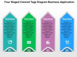 Four Staged Colored Tags Diagram Business Application Flat Powerpoint Design