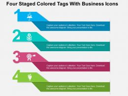 Four Staged Colored Tags With Business Icons Flat Powerpoint Design
