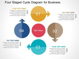 Four Staged Cycle Diagram For Business Flat Powerpoint Design