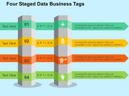 Four Staged Data Business Tags Flat Powerpoint Design