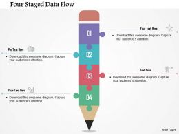 Four Staged Data Flow Flat Powerpoint Design