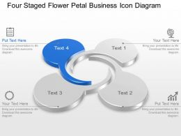 Four Staged Flower Petal Business Icon Diagram Powerpoint Template Slide
