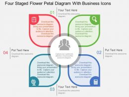 Four Staged Flower Petal Diagram With Business Icons Flat Powerpoint Design