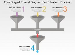 Four Staged Funnel Diagram For Filteration Process Flat Powerpoint Design