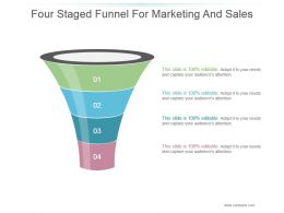 Four Staged Funnel For Marketing And Sales Powerpoint Slide Inspiration