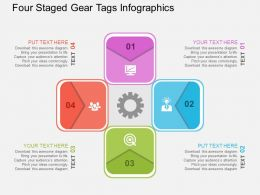 Four Staged Gear Tags Infographics Flat Powerpoint Design