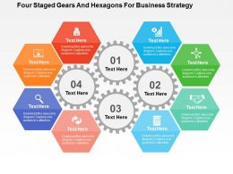 four_staged_gears_and_hexagons_for_business_strategy_flat_powerpoint_design_Slide01