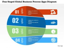 Four Staged Global Business Process Apps Diagram Flat Powerpoint Design