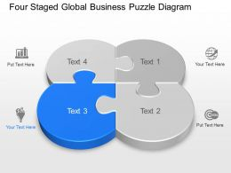 Four Staged Global Business Puzzle Diagram Powerpoint Template Slide
