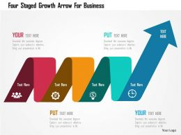 Four Staged Growth Arrow For Business Flat Powerpoint Design