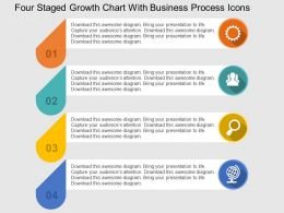 Four Staged Growth Chart With Business Process Icons Flat Powerpoint Design
