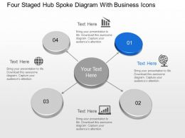 Four Staged Hub Spoke Diagram With Business Icons Powerpoint Template Slide