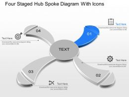 Four Staged Hub Spoke Diagram With Icons Powerpoint Template Slide