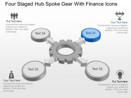 Four Staged Hub Spoke Gear With Finance Icons Powerpoint Template Slide