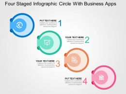 Four Staged Infographic Circle With Business Apps Flat Powerpoint Design